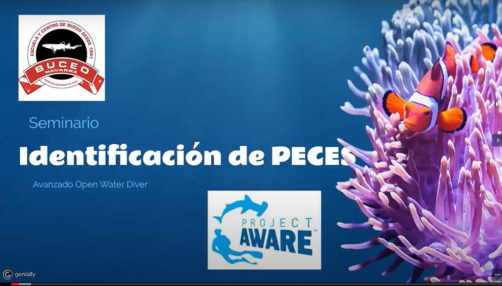 cartel para identificacion de peces + logos de Proyecto Aware y Buceo Navarra
